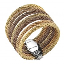 Lady's Tri-Color 18Kt-SS Cable Fashion ring