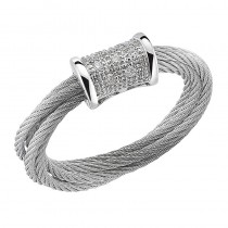 Lady's White 18Kt-Ss Cable Ring