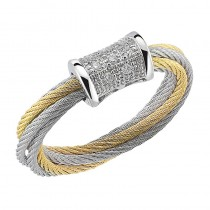 Lady's Two-Tone 18kt-Ss Fashion Ring