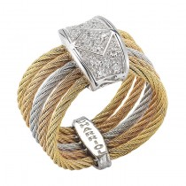 Lady's Two-Toned 18K Wg-Ss and Yellow Cable Ring