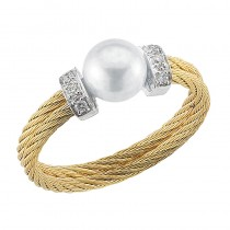 Lady's Two-Tone 18Kt-Yellow Ss Ring with Pearl
