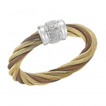 Lady's Tri-Color 18K-SS Yellow and Bronze Fashion Ring with Round Diamonds