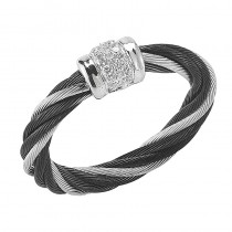 Lady's Two-Toned 18Wg-Black Fashion Ring