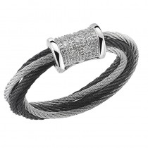 Lady's Two-Tone 18Kt Cable Fashion Ring