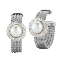 Lady's White 18Kt-Ss Hoop Earrings with Pearls