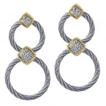 Lady's two-tone Stainless-18K doorknocker earrings