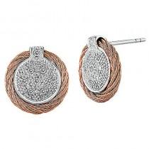 Lady's Two-Tone 18K-Ss-Rose Earrings