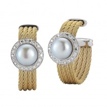 Lady's Two-Tone 18Kt-Yellow Hoop Earrings with Pearls