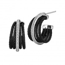 Lady's Two-Tone 18K Wg-Ss and Black Pvd Cable Earrings