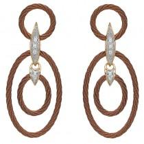 Lady's Bronze-18Kt Tri-Color Drop Earrings
