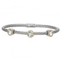 Lady's Two-Tone Ss-18K Bracelet with three round topaz stones
