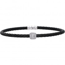 Lady's Black Stainless Steel-18K Bangle Bracelet
