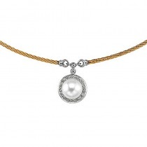 Lady's Two Tone 18Kt-Rose Necklace with Pearl