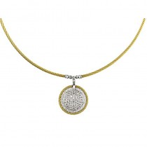 Lady's SS-18K Round Pendant Necklace with White Topaz and Diamonds