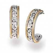 Lady's Two-Tone Sterling Silver and 18K 30Mm Half Hoop Earrings