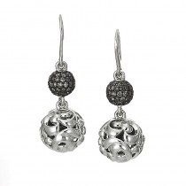 Lady's White Sterling Silver-14Kt Earrings with Round Black Sapphires