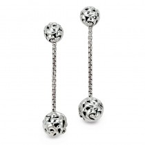 Lady's White Sterling Silver-14Kt Earrings
