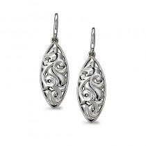 Lady's White Sterling Silver- 14Kt Earrings