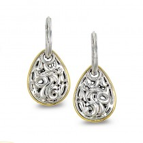 Lady's Two-Tone Sterling Silver-14Kt-18Kt Dangle Earrings