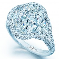 Lady's Platinum 3 Stone featuring Halo Engagement Ring