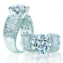 Platinum  Engagement Mounting  with 2.17ctw Various Shapes Diamonds
