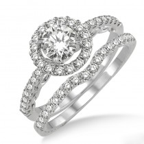 Lady's White 14 Karat Halo Engagement Ring and Matching Wedding Band With Onet Round Diamond And Round Diamonds