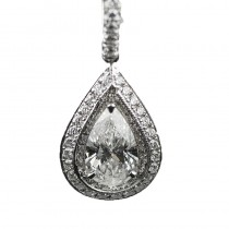 Lady's Platinum Pendant with One 1.17ct Pear F SI2 Diamond