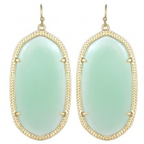 Ladys Yellow 14K Gold Plate Danielle W- Chalcedony Translucent Glass Earrings