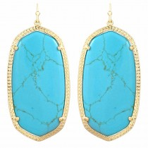 Ladys Yellow 14K Gold Plate Danielle W- Turquoise Magnesite Earrings
