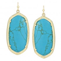 Ladys Yellow 14K Gold Plate Elle W- Turquoise Magnesite Earrings