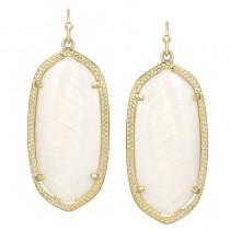 Ladys Yellow 14K Gold Plate Elle W- White Mop Earrings