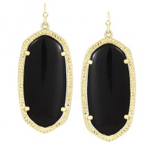 Ladys Yellow 14K Gold Plate Elle W- Black Opaque Glass Earrings