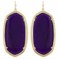 Ladys Gold Plate Danielle W- Purple Jade Earrings