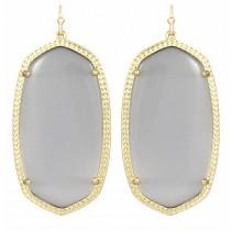 Ladys Yellow 14K Gold Plate Danielle W- Slate Cats Eye Earrings