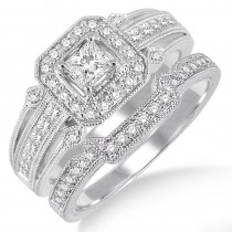 Lady's White 14 Karat Engagement Ring Set With One Princess Diamond And Various Shapes Diamonds