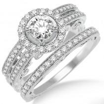 Lady's White 14 Karat Engagement Set With One Round Diamond And Round Diamonds