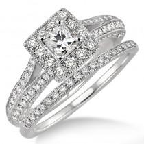 Lady's White 14 Karat Wedding Set Engagement Ring With One Princess Diamond And Round Diamonds