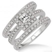Lady's White 14 Karat Halo Engagement Ring With One Princess Diamond And Round Diamonds
