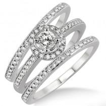 Lady's White 14 Karat Halo Engagement Ring With One Round Diamond And Round Diamonds