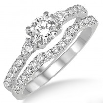 Lady's White 14 Karat Engagement Ring With One Round Diamond And Various Shapes Diamonds