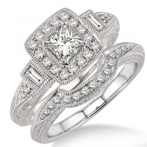 Lady's White 14 Karat 2 Ring Set Engagement Ring With One Princess Diamond And Various Shapes Diamonds