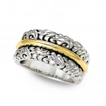 Two-Tone Sterling Silver-18K Ivy Band Ring
