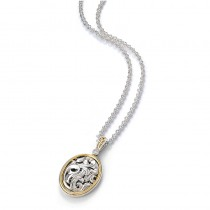 Lady's Ss-18K Oval Pendant Length 17 with Round Diamond