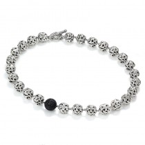 Lady's Sterling Silver Toggle Clasp Necklace with Round Black Sapphires