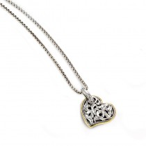 Lady's Two-Tone Sterling Silver- 18Kt Heart Pendant Charm