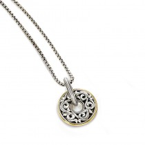 Lady's Two-Tone Sterling Silver- 18Kt Round Pendant Charm