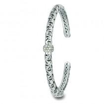 Lady's Ss-14K Cuff Bracelet with Round Diamonds