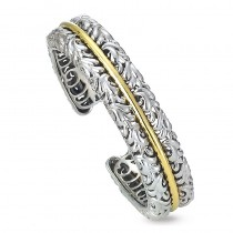 Two-Tone Sterling Silver and 18KY and 14Kw Bangle Bracelet