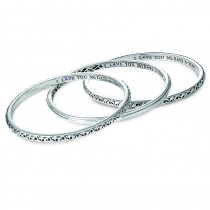 Sterling Silver Ivy I Love You Bangle Bracelet with Round Pink Sapphire