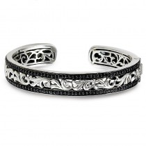 Lady's White Sterling Silver and 14Kw Hinged Cuff Bracelet with Round Black Sapphires